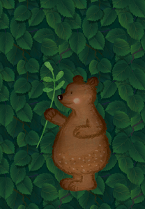 Waterproof panel for a backpack - bear in leaves