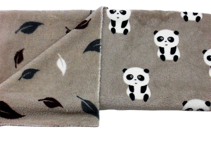 Double-sided polar - pandas and leaves - beige